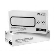 Перчатки виниловые неопудренные черные Ollin Professional