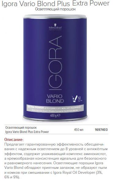 Осветляющий порошок Igora Vario Blond Plus Extra