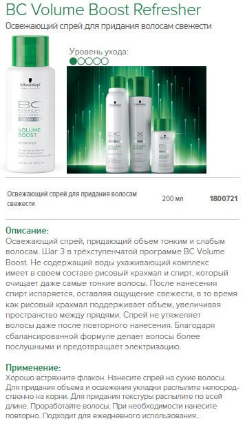 Спрей для объема волос - Schwarzkopf BC Volume Boost Refresher