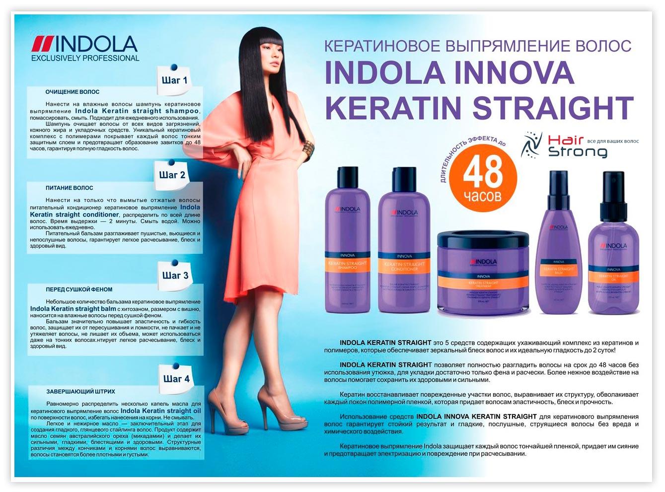 Инструкция кератинового выпрямления Indola